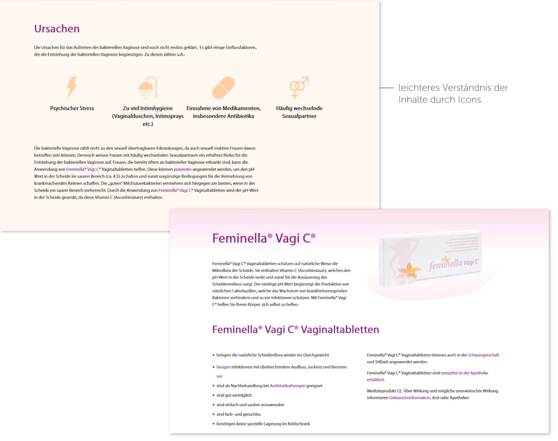 Ausschnitte der Webseite von Feminella® Vagi C®.