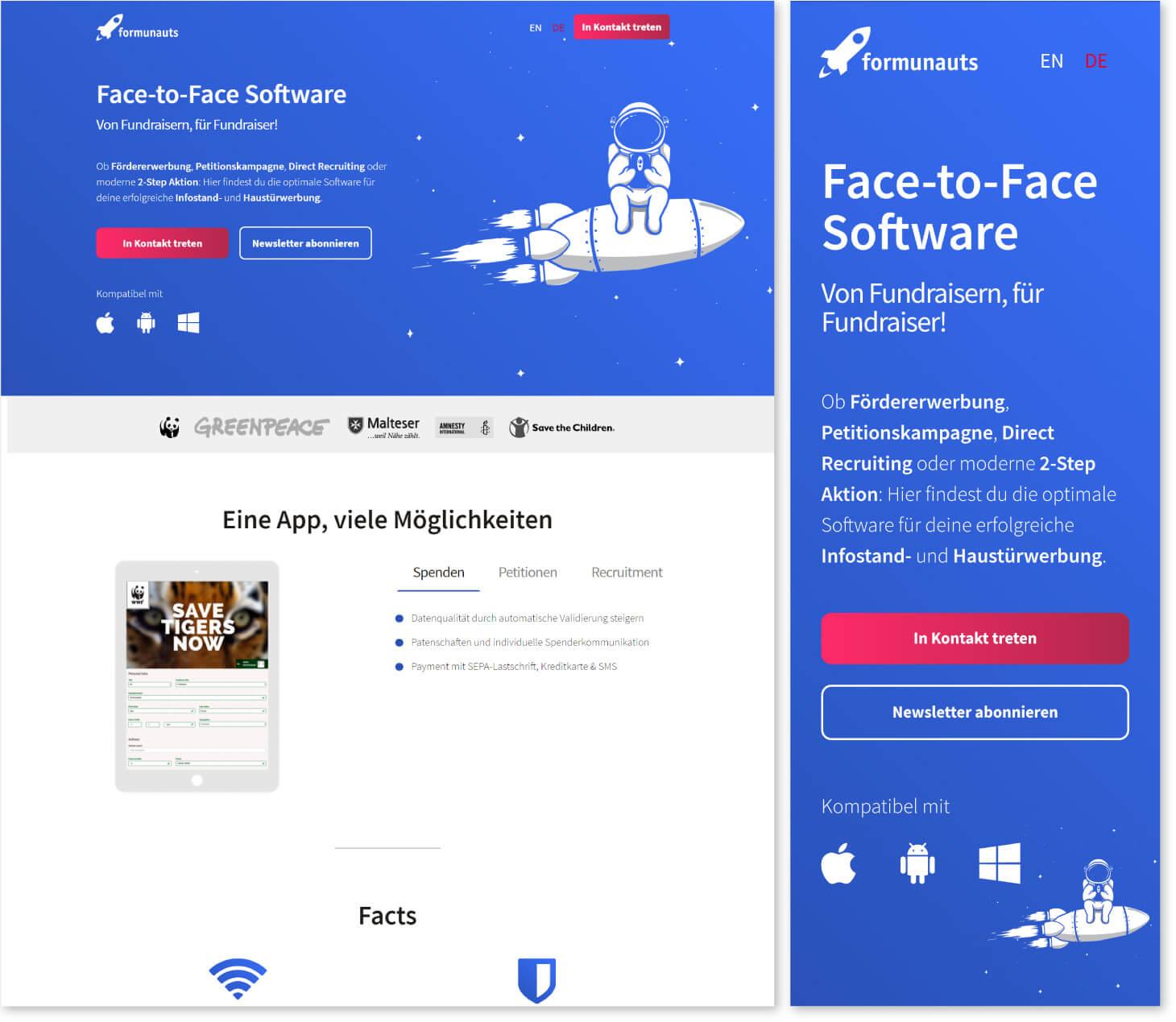 Die Webseite von Formaunauts in der Desktop und in der Mobilen Ansicht nebeneinander.